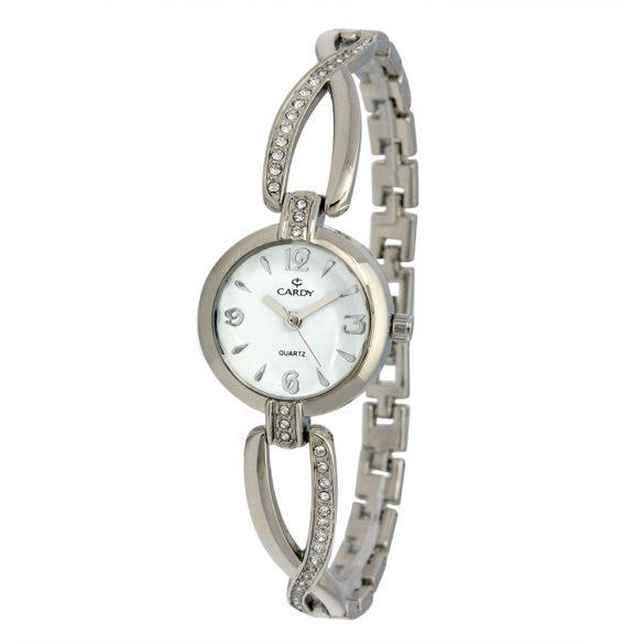 Cardy női quartz ékszeróra, ezüst színű szíj és tok, fehér számlap
