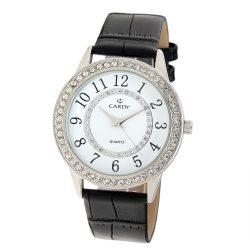 Cardy női bőrszíjas quartz karóra, fekete szíj, ezüst színű tok, fehér számlap