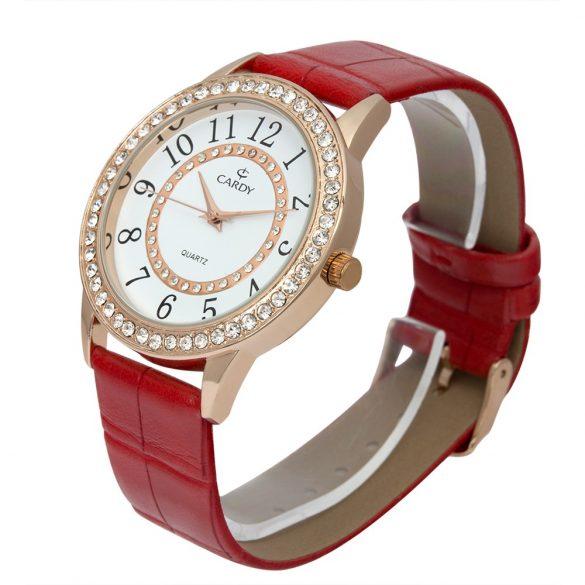 Cardy női bőrszíjas quartz karóra, piros szíj, rózsaarany színű tok, fehér számlap