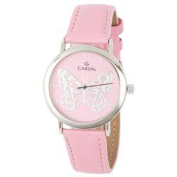 Cardy női bőrszíjas karóra, quartz, ezüst színű tok, rózsaszín bőrszíj, rózsaszín számlap