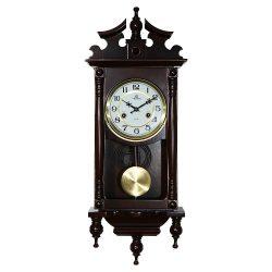 Merion ingás fa falióra, mechanikus, 1/2 ütős, sötét dió színű