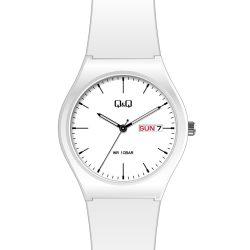 Q&Q unisex műanyag karóra, quartz, fehér színű tok és szíj, fehér színű számlap, A212J002Y