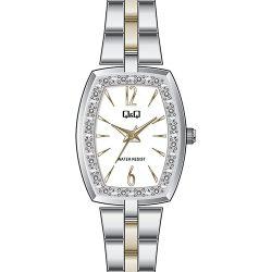 Q&Q női fémcsatos ékszeróra, quartz, ezüst színű tok, bicolor karcsat, fehér számlap, QC13J401Y