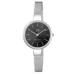 Q&Q női fémcsatos karóra, ezüst színű tok, ezüst színű szíj, fekete számlap, QA17J202Y