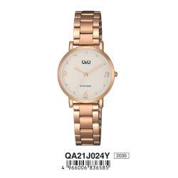 Q&Q női fémcsatos karóra, rózsaarany színű tok, rózsaarany színű szíj, fehér számlap, QA21J024Y