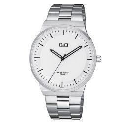 Q&Q férfi fémcsatos karóra, ezüst színű tok, ezüst színű szíj, fehér számlap, QB06J201Y