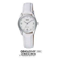 Q&Q női bőrszíjas karóra, ezüst színű tok, fehér színű szíj, fehér számlap, QB43J314Y