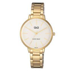 Q&Q női fémcsatos karóra, arany színű tok, arany színű szíj, fehér számlap, QB57J001Y