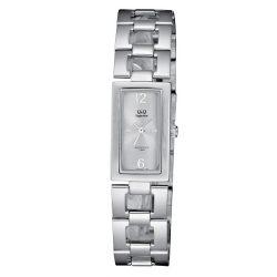 Q&Q női fémcsatos karóra, ezüst színű tok, ezüst színű szíj, szürke színű számlap, S299J201Y