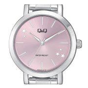 Q&Q női fémcsatos karóra, quartz, ezüst színű tok és csat, rózsaszín számlap, Q893J212Y