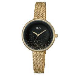 Q&Q női fémcsatos karóra, quartz, arany színű tok és csat, fekete számlap, QZ41J018Y