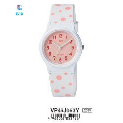 Q&Q nőii műanyag karóra, quartz, fehér színű tok és szíj, rózsaszín számlap, VP46J063Y