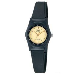 Q&Q női műanyag karóra, quartz, fekete színű tok és szíj, arany színű számlap, VQ05J001Y