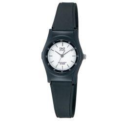 Q&Q női műanyag karóra, quartz, fekete színű tok és szíj, fehér színű számlap, VQ05J002Y