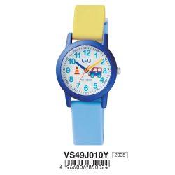 Q&Q gyerek karóra, quartz, kék színű tok,sárga szíj, fehér számlap, VS49J010Y