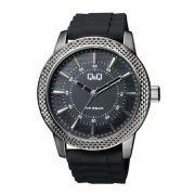 Q&Q férfi műanyag szíjas karóra, ezüst fekete színű tok, fekete színű szíj, fekete színű számlap, QB20J502Y