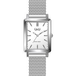 Q&Q női fémcsatos karóra, quartz, ezüst színű tok és csat, fehér számlap, QB95J201Y