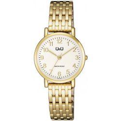 Q&Q női fémcsatos karóra, quartz, arany színű tok és csat, fehér számlap, QA21J004Y