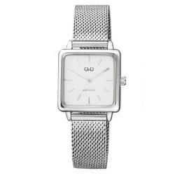 Q&Q női fémcsatos karóra, quartz, ezüst színű tok és csat, ezüst számlap, QB51J201Y