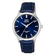 Q&Q Superior férfi bőrszíjas karóra, quartz, ezüst színű tok, kék szíj, kék számlap, S278J312Y