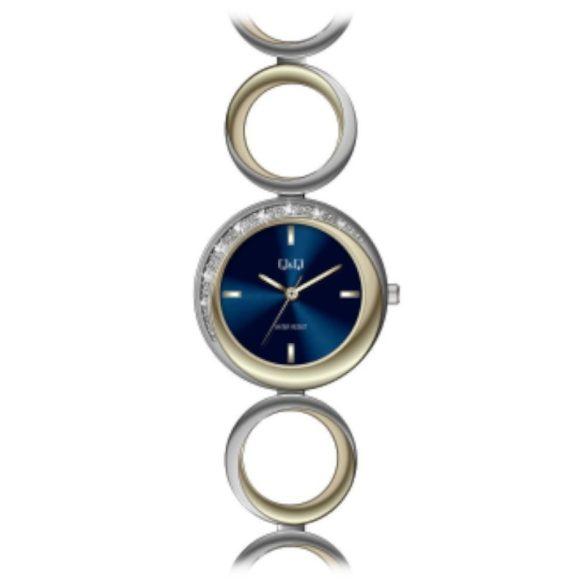 Q&Q női ékszeróra, quartz, bicolor színű tok és csat, kék számlap, F641J402Y