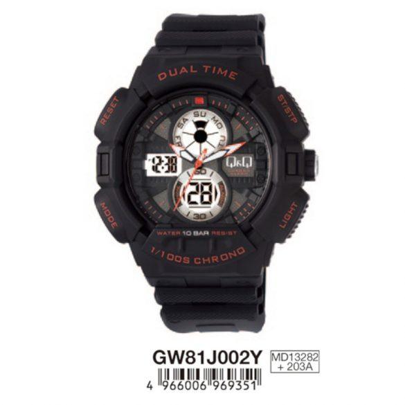 Q&Q férfi műanyag karóra, quartz/LCD, fekete/piros színű, GW81J002Y