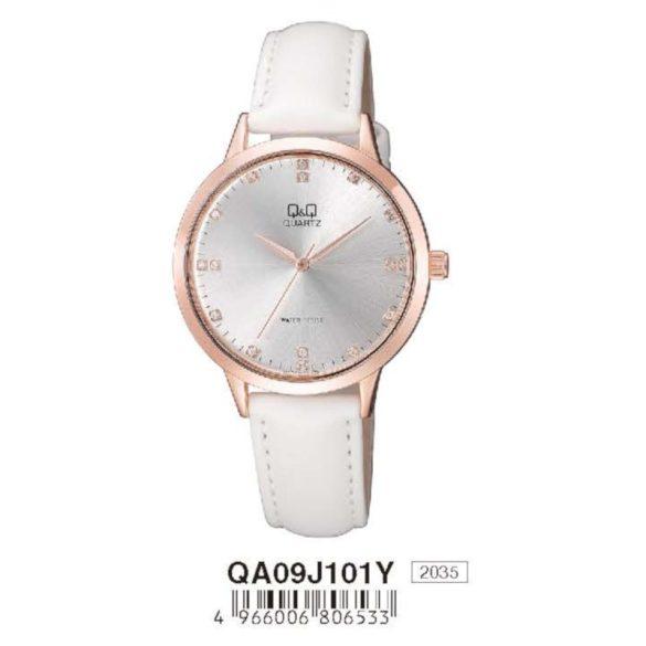Q&Q női bőrszíjas karóra, quartz, rózsaarany színű tok, fehér szíj, ezüst színű számlap, QA09J101Y