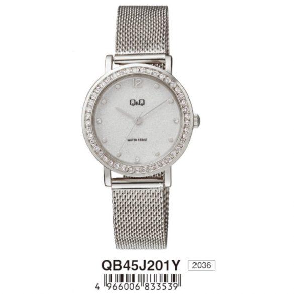 Q&Q női fémcsatos karóra, quartz, ezüst színű tok és csat, ezüst színű számlap, QB45J201Y