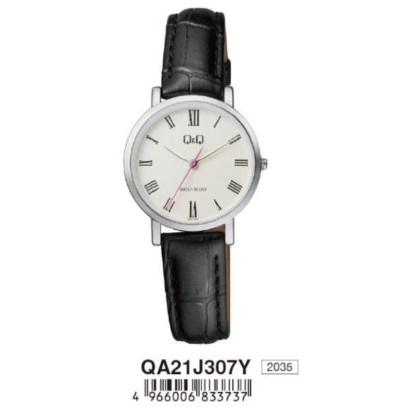 Q&Q női bőrszíjas karóra, quartz, ezüst színű tok, fekete szíj, fehér számlap, QA21J307Y