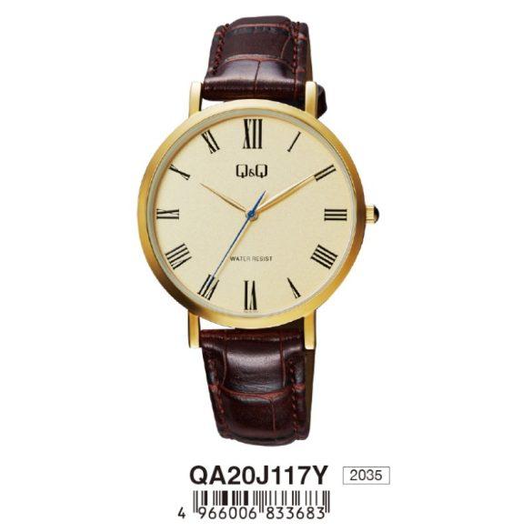 Q&Q férfi bőrszíjas karóra, quartz, arany színű tok, barna szíj, pezsgő színű számlap, QA20J117Y