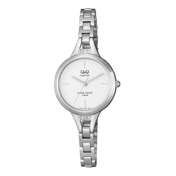 Q&Q női ékszeróra, quartz, ezüst színű tok és csat, fehér színű számlap, S305J201Y