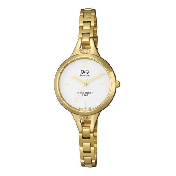 Q&Q női ékszeróra, quartz, arany színű tok és csat, fehér színű számlap, S305J001Y