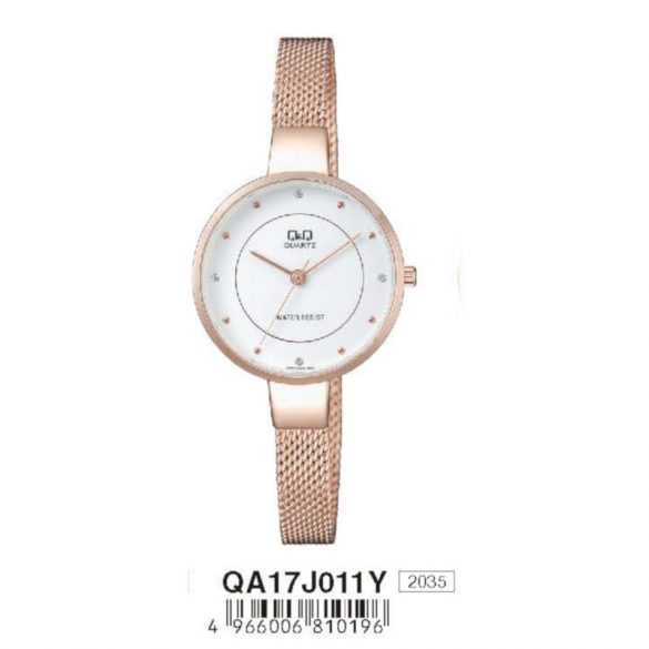 Q&Q női  quartz ékszeróra, rózsaarany színű  tok és csat, fehér számlap, QA17J011Y