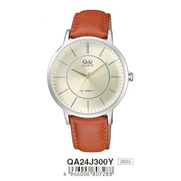 Q&Q férfi bőrszíjas  quartz karóra, ezüst színű  tok, barna szíj, fehér számlap, QA24J300Y