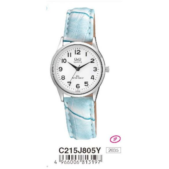 Q&Q női bőrszíjas  quartz karóra, ezüst színű  tok, v.kék szíj, fehér számlap, C215J805Y