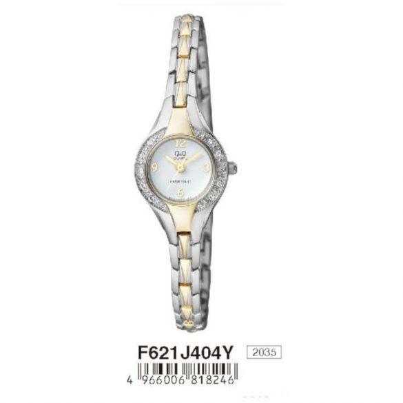 Q&Q női  quartz ékszeróra, bicolor színű  tok és szíj, fehér számlap, F621J404Y