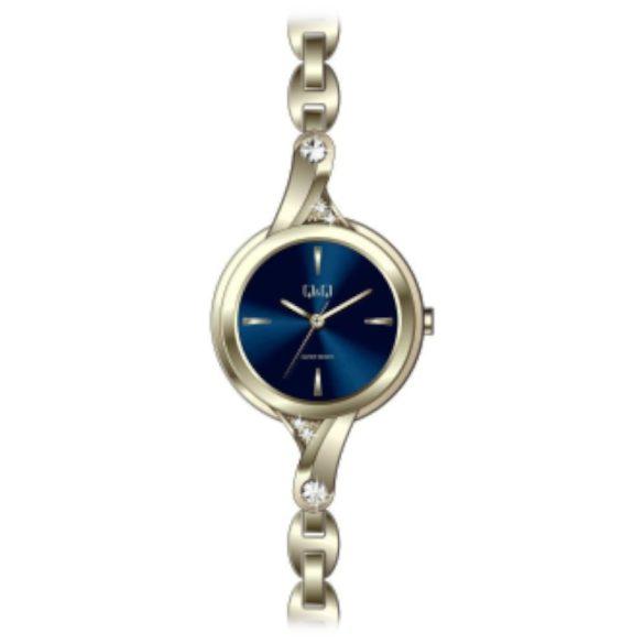 Q&Q női  quartz ékszeróra, arany színű  tok és csat, kék számlap, F637J002Y