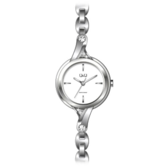 Q&Q női  quartz ékszeróra, ezüst színű  tok és csat, fehér számlap, F637J201Y