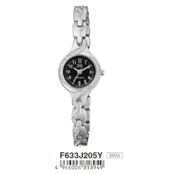 Q&Q női ékszeróra, quartz, ezüst színű  tok és csat, fekete számlap, F633J205Y