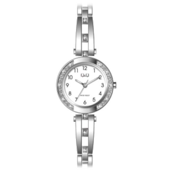 Q&Q női ékszeróra, quartz, ezüst színű  tok és csat, fehér számlap, F639J204Y