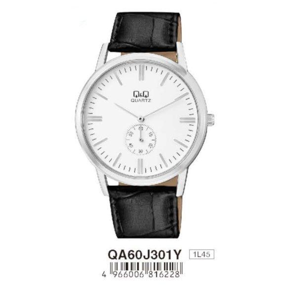 Q&Q férfi bőrszíjas karóra, quartz, ezüst színű tok, fekete szíj, fehér számlap, QA60J301Y