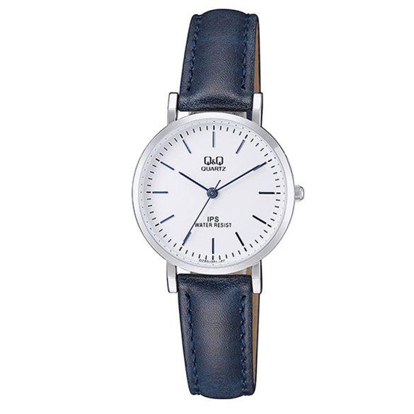Q&Q női bőrszíjas karóra, quartz, ezüst színű tok, kék szíj, fehér számlap, QZ03J301Y