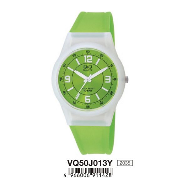 Q&Q női műanyag karóra, quartz, fehér/zöld színű, VQ50J013Y