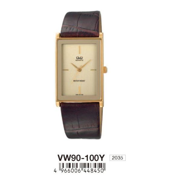 Q&Q unisex, quartz, fekete bőrszíj, arany tok, pezsgő színű számlap, ásványüveg, VW90-100Y