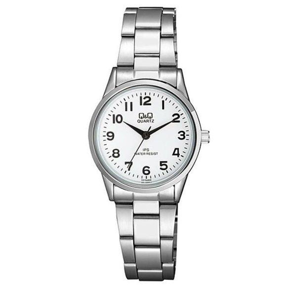 Q&Q női fémcsatos karóra, ezüst színű tok és csat, fehér színű számlap, C215J204Y