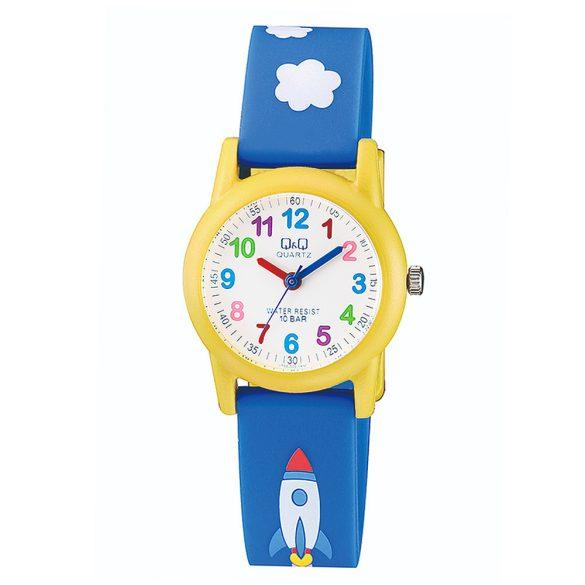 Q&Q gyerek karóra, quartz, kék/sárga színű, VR99J003