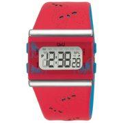 Q&Q női, quartz, piros tok, fekete bőrszíj, szíj, piros számlap, digitális, ásványüveg, M116-006