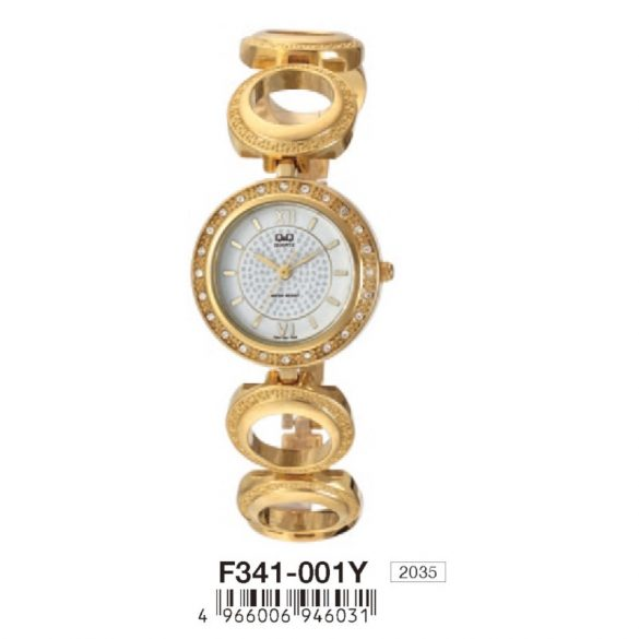 Q&Q női ékszeróra, quartz, arany színű, F341-001Y