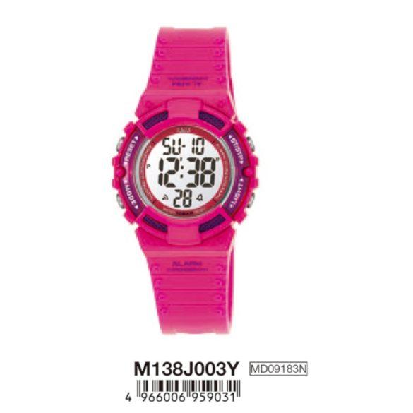 Q&Q női műanyag karóra, quartz/LCD, rózsaszín színű