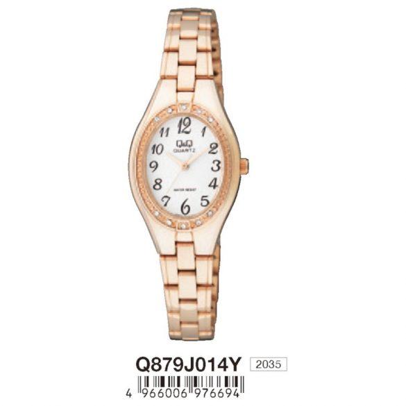 Q&Q női, quartz, rózsaarany tok és karcsat, fehér számlap, analóg, ásványüveg, Q879J014Y